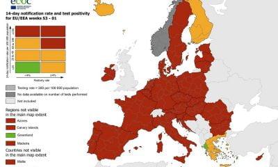 Στην Ελλάδα οι μόνες πράσινες περιοχές σύμφωνα με τον σημερινό χάρτη ECDC για τον κορωνοϊό